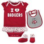 Baby Wisconsin Badgers Team Love Bodysuit Set