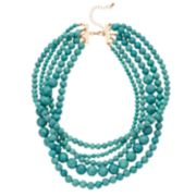 Simulated Turquoise Bead Multi Strand Necklace