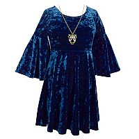Girls Plus Size Crushed Velvet Empire Belle Sleeve Dress with Owl Necklace