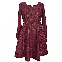 Girls Plus Size Bonnie Jean Bonded Lace Skater Dress
