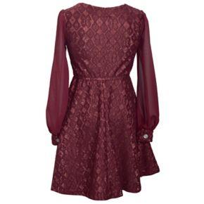 Girls Plus Size Bonnie Jean Bonded Lace Skater Dress