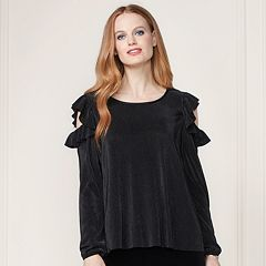 LC Lauren Conrad Runway Collection Pleated Cold-Shoulder Top - Women's