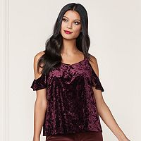 LC Lauren Conrad Runway Collection Velvet Cold-Shoulder Top - Women's