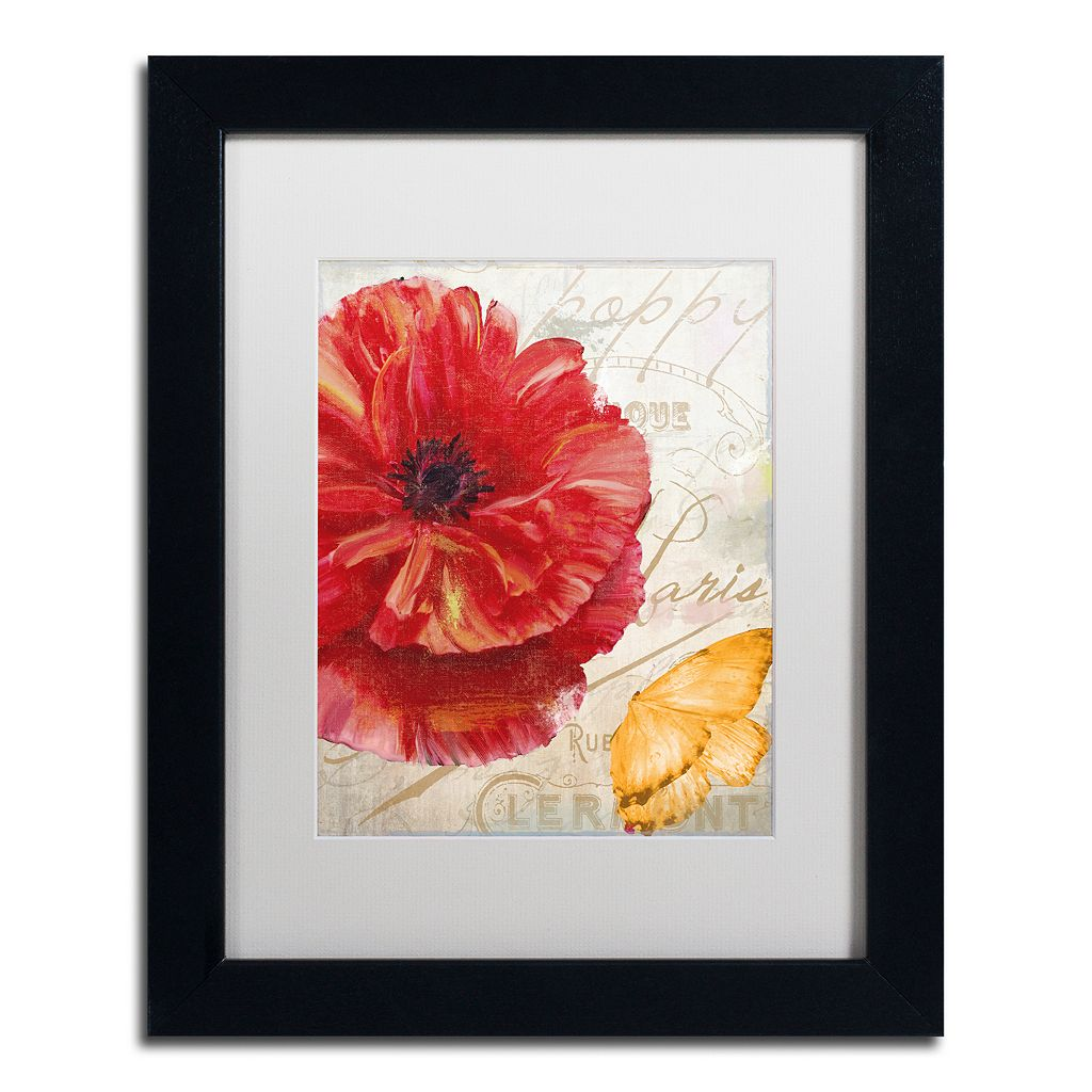 Trademark Fine Art Red Poppy Black Framed Wall Art