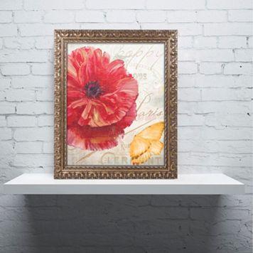 Trademark Fine Art Red Poppy Ornate Framed Wall Art