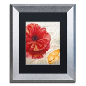 Trademark Fine Art Red Poppy Silver Finish Framed Wall Art