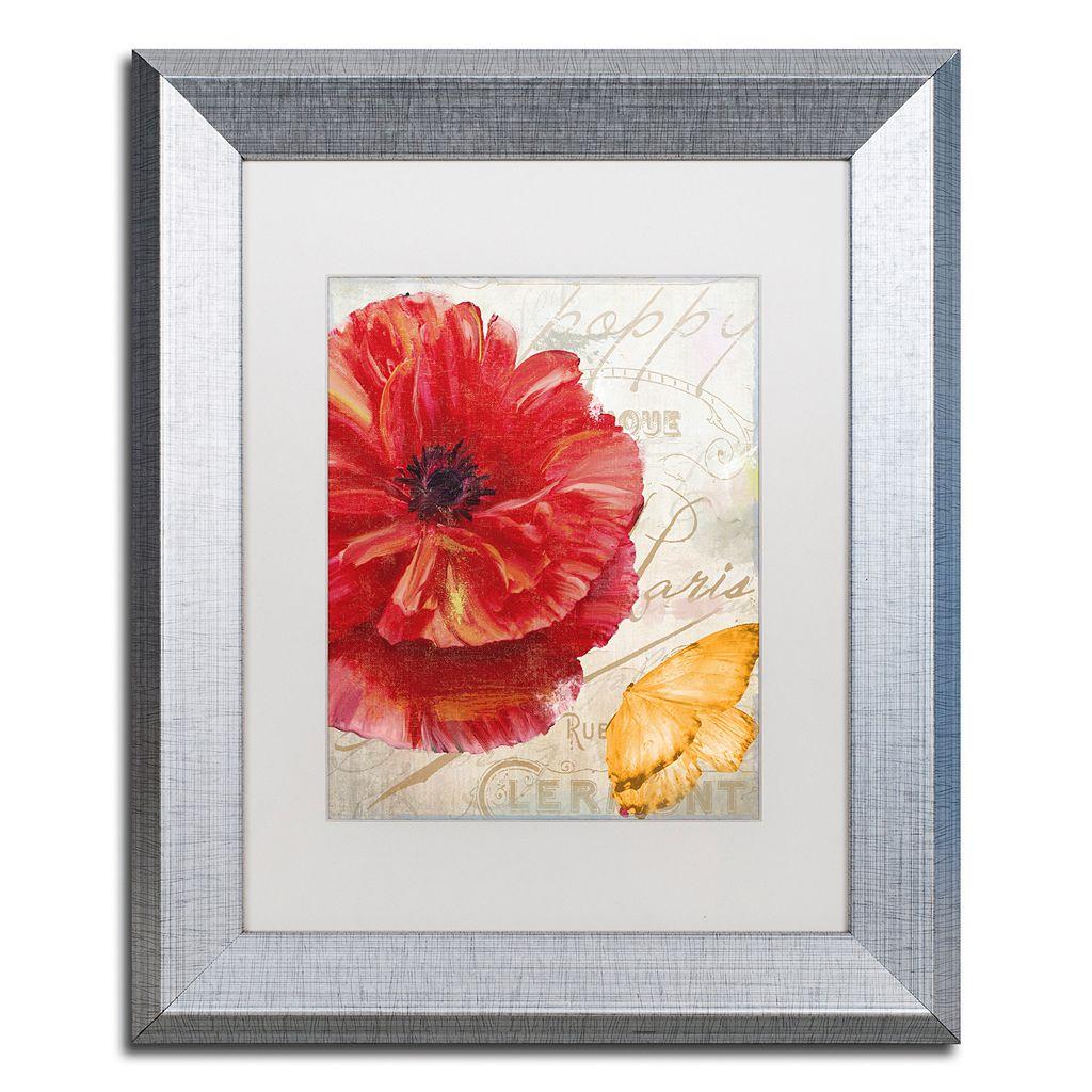 Trademark Fine Art Red Poppy Silver Finish Framed Wall Art