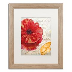 Trademark Fine Art Red Poppy Distressed Framed Wall Art