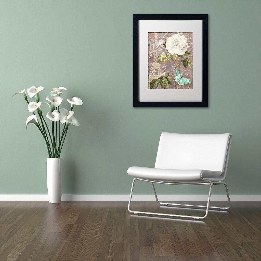 Trademark Fine Art White Rose Paris Black Framed Wall Art