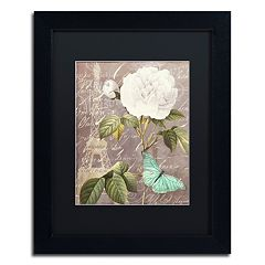 Trademark Fine Art White Rose Paris Black Framed Wall Art