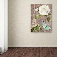 Trademark Fine Art White Rose Paris Black Canvas Wall Art
