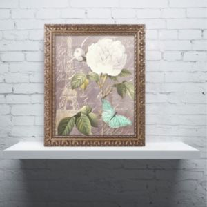 Trademark Fine Art White Rose Paris Ornate Framed Wall Art