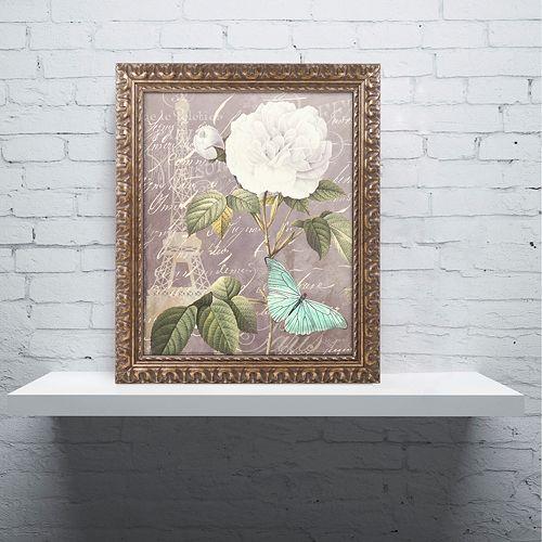 Trademark Fine Art White Rose Paris Ornate Framed Wall Art