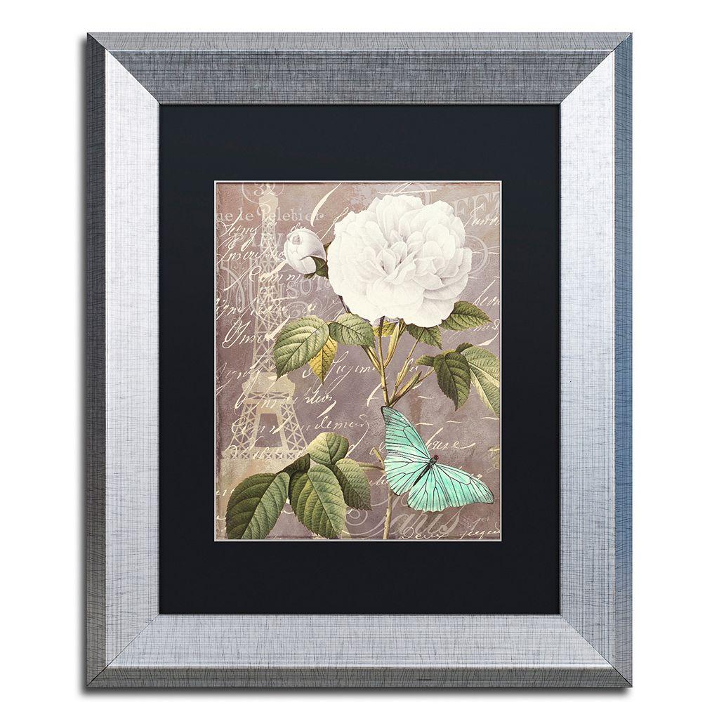 Trademark Fine Art White Rose Paris Silver Finish Framed Wall Art