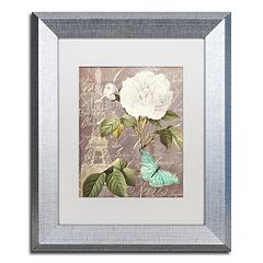 Trademark Fine Art White Rose Paris Silver Finish Framed Wall Art