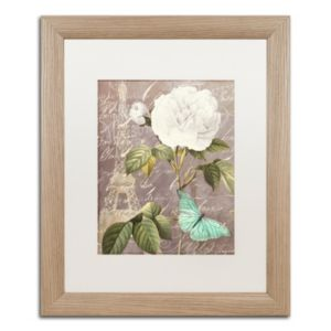 Trademark Fine Art White Rose Paris Distressed Framed Wall Art