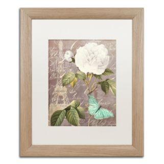 Trademark Fine Art White Rose Paris Distressed Framed Wall Art