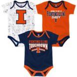 Baby Illinois Fighting Illini Playmaker 3-Pack Bodysuit Set