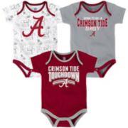 Baby Alabama Crimson Tide Playmaker 3-Pack Bodysuit Set