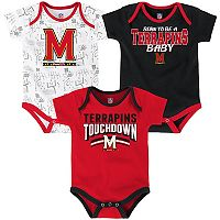 Baby Maryland Terrapins Playmaker 3-Pack Bodysuit Set