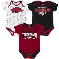 Baby Arkansas Razorbacks Playmaker 3-Pack Bodysuit Set