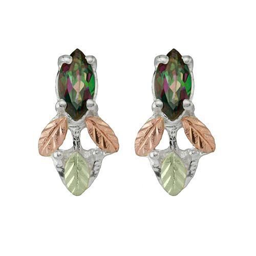 Black Hills Gold Tri Tone Mystic Topaz Leaf Drop Earrings In Sterling Silver