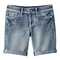 Girls 7-16 & Plus Size Mudd® Flower Embellished Pocket Bermuda Jean Shorts
