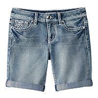 Girls 7-16 & Plus Size Mudd® Flower Embellished Pocket Bermuda Jean Shorts