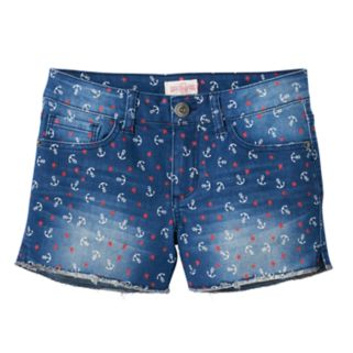 Girls 7-16 & Plus Size Mudd® Dark Wash Anchor Print Jean Shorts