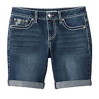 Girls 7-16 & Plus Size Mudd® Embellished Pocket Bermuda Jean Shorts