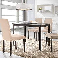 Baxton Studio Andrew Dining Table & Upholstered Chair 5 pc Set