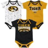 Baby Missouri Tigers Playmaker 3-Pack Bodysuit Set