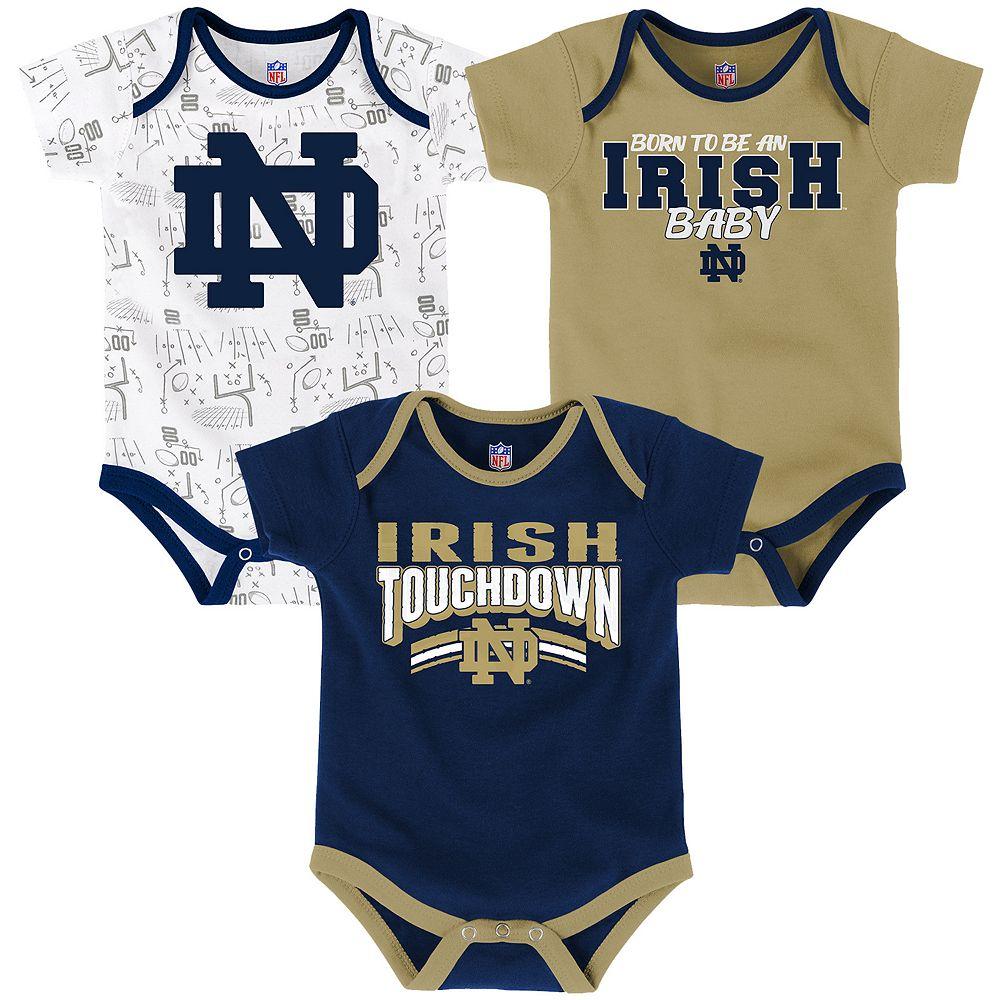 Baby Notre Dame Fighting Irish Playmaker 3 Pack Bodysuit Set