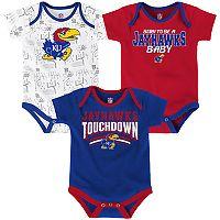 Baby Kansas Jayhawks Playmaker 3-Pack Bodysuit Set