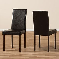 Baxton Studio Andrew Faux-Leather Dining Chair 2 pc Set
