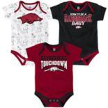 Baby Arkansas Razorbacks Playmaker 3-Pack Bodysuit Set
