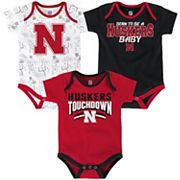 Baby Nebraska Cornhuskers Playmaker 3-Pack Bodysuit Set