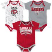 Baby Wisconsin Badgers Playmaker 3-Pack Bodysuit Set