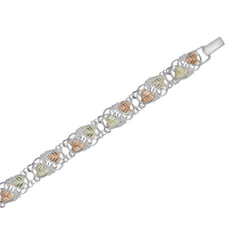 Black Hills Gold Tri-Tone Grapevine Bracelet in Sterling Silver