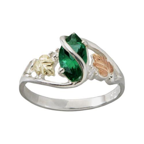 Black Hills Gold Tri-Tone Obsidianite Leaf Ring in Sterling Silver