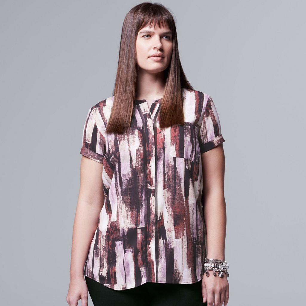 Plus Size Simply Vera Vera Wang Popover Top