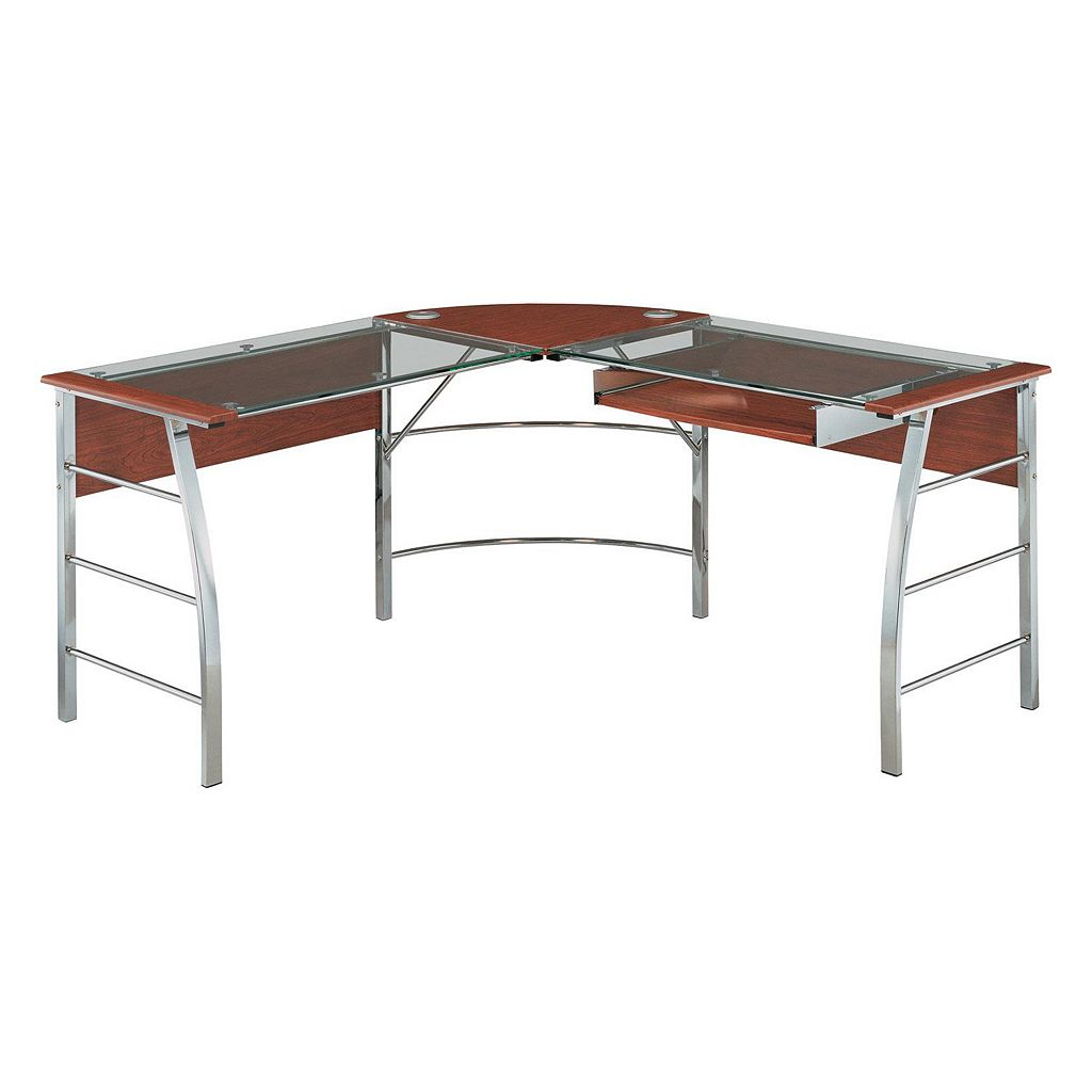 Altra Wingate Glass Top L-Shaped Computer Desk