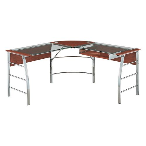 Altra Wingate Glass Top L-Shaped Computer Desk
