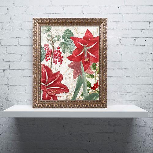 "Trademark Fine Art Amaryllis ""Paris"" Ornate Framed Wall Art"