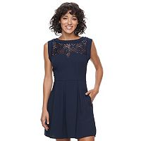 Juniors' Speechless Crochet Neckline Skater Dress