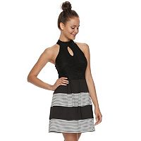 Juniors' Speechless Pleated Stripe Skater Dress