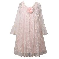 Girls 7-16 Bonnie Jean Embroidered Mesh Bell Sleeve Dress