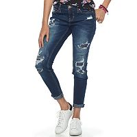 Juniors' Rampage Fray Hem Ripped Skinny Jeans