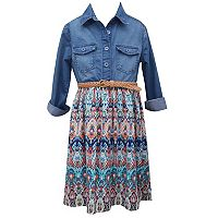 Girls 7-16 Bonnie Jean Chambray Top Printed Shirtdress
