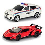 Braha 1:24 Remote Control Full-Function Sports Cars Lamborghini Veneno VS BMW Policecar